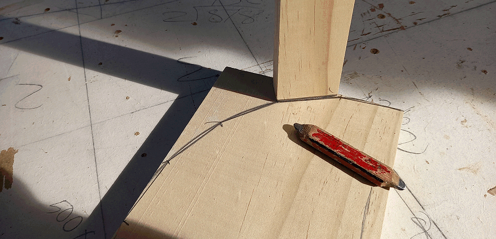 marking the straight cuts on the adiradonack chair side pieces