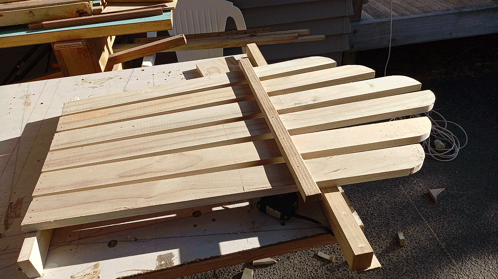 cutting the shape of the adirondack chair back