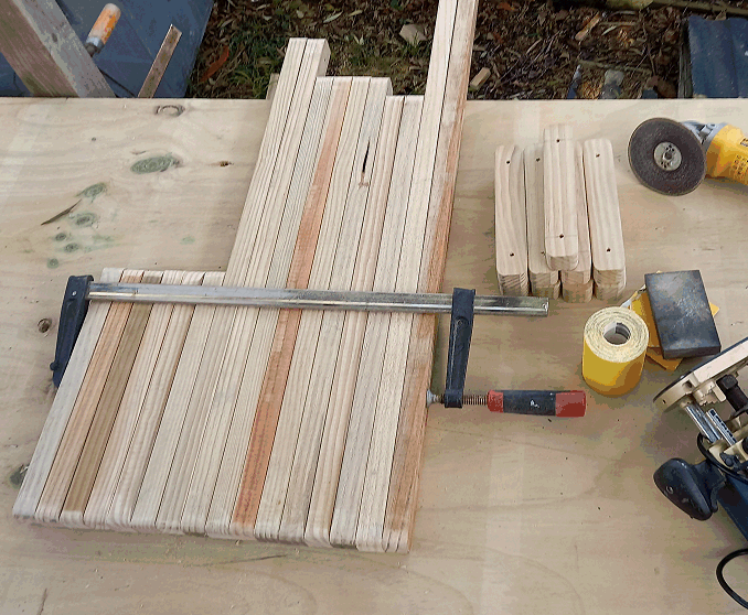 camoda chair construction - pieces being sanded at the corners