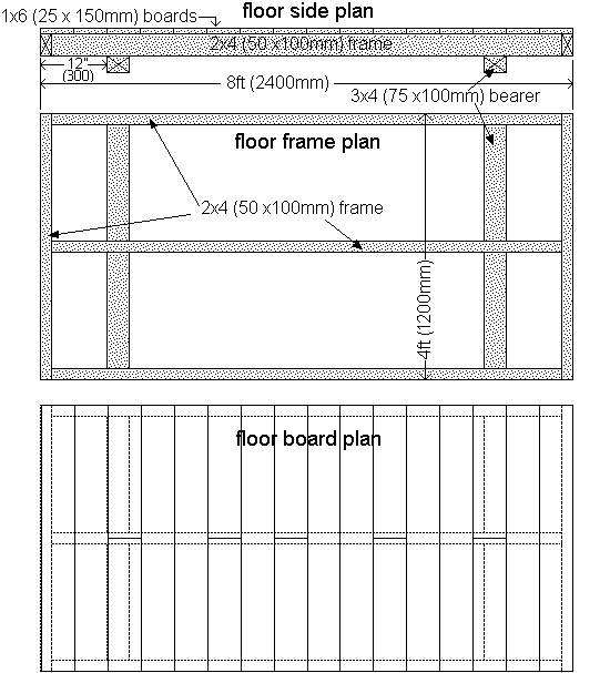 8x4 shed floor plan