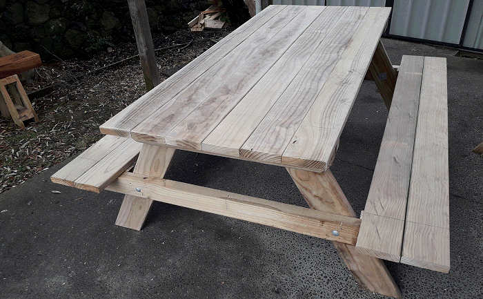 seats fixed to a picnic table