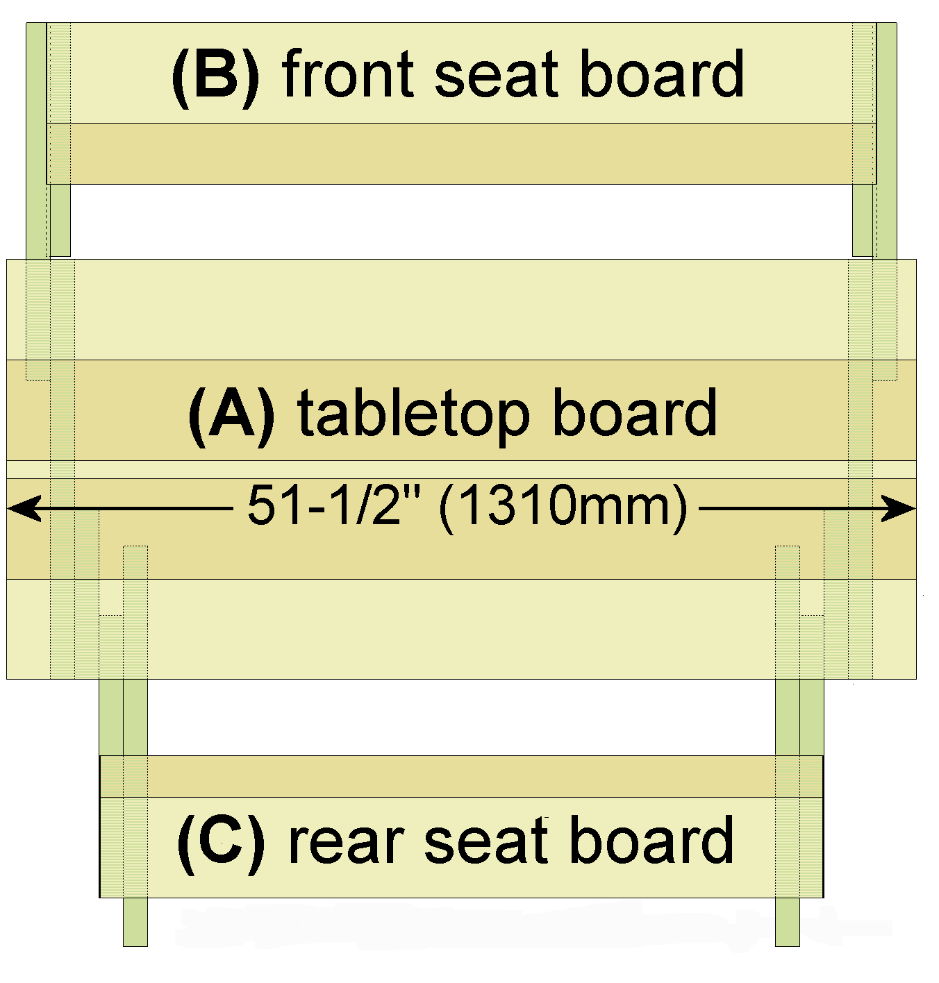 folding picnic table boards - the length