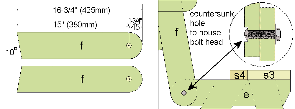 folding picnic table seat support cutting detail