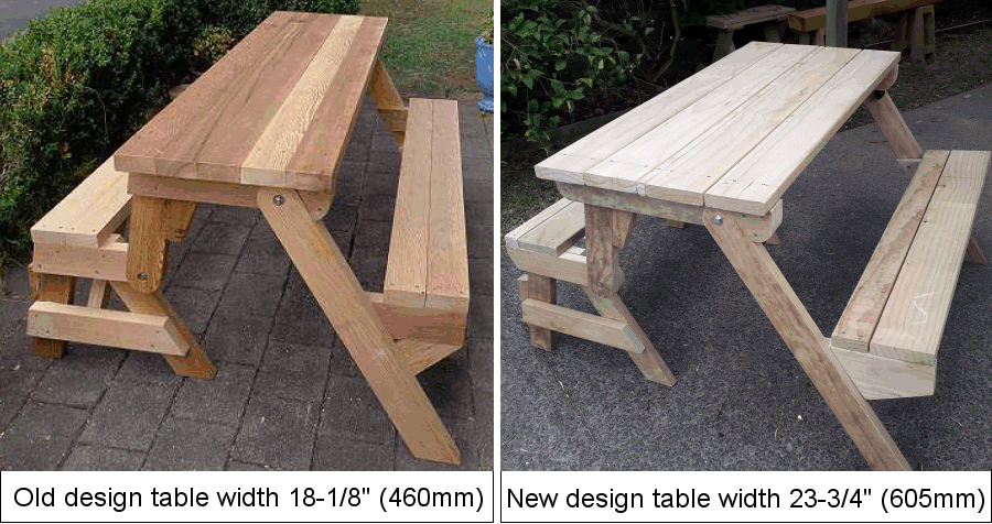 folding picnic tables old version and new version