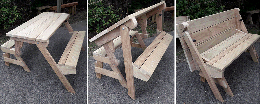 picnic table folding down to bench