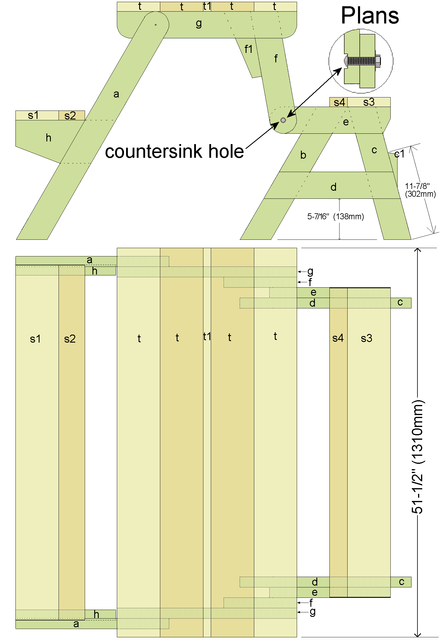 folding picnic table plans top view and side view