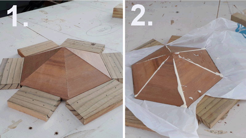 hexagonal birdshouse assembling the roof