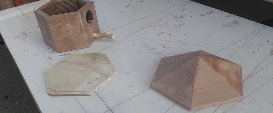 birdhouse floor marked and cut