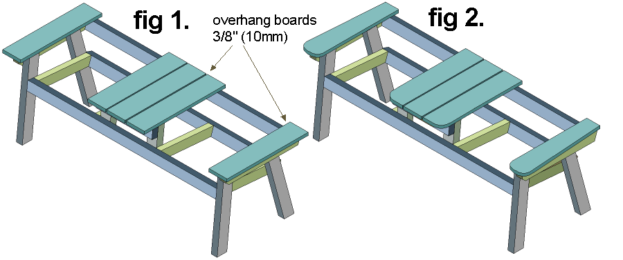 armrest and tabletop boards on bench drawing