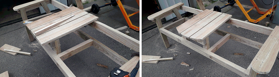 armrest and tabletop boards on bench pphoto