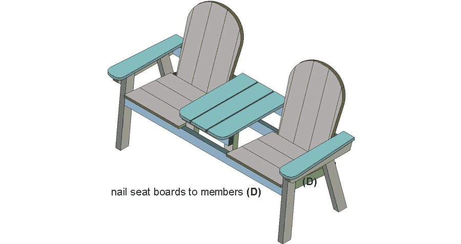 jack and jill seat isometric drawing