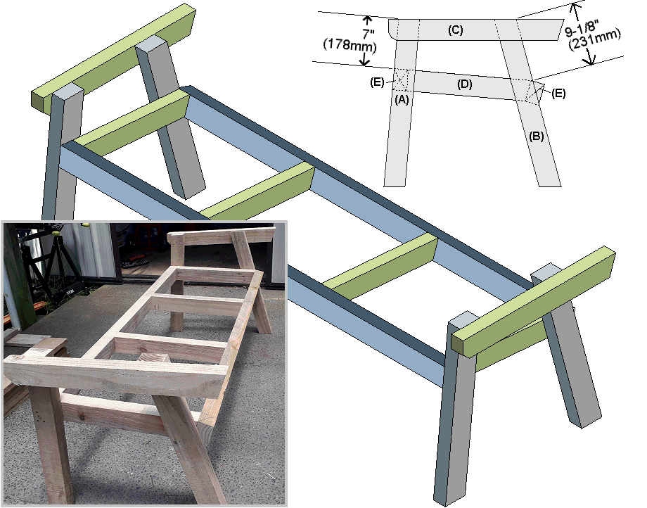 seat-frame and side-frames assembly detail