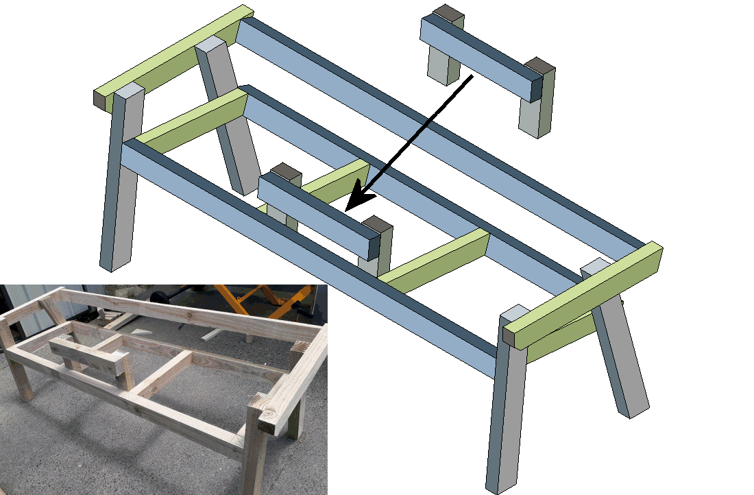 bench seat middle table isometric drawing