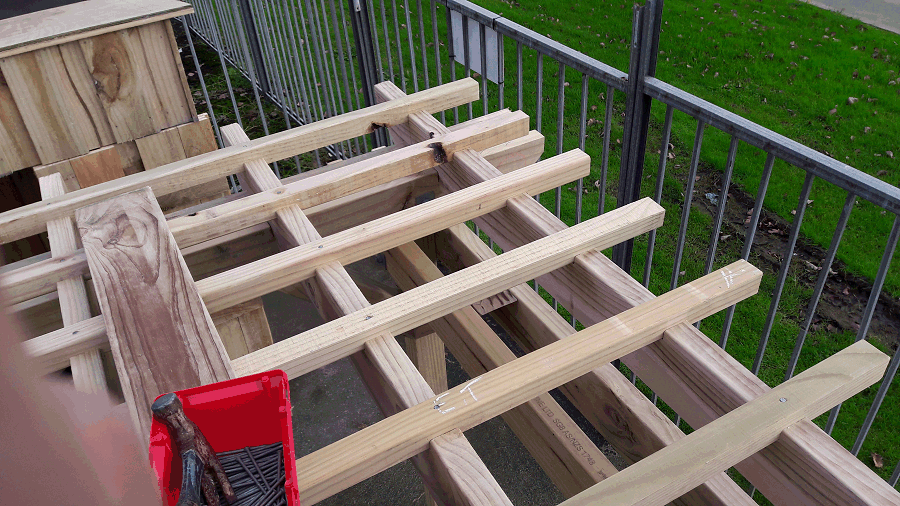 building a pergola - top battens nailed in place