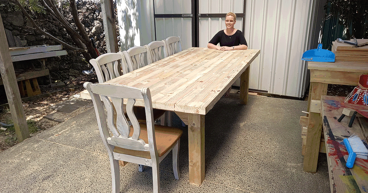 large solid outdoor dinning table with thick legs