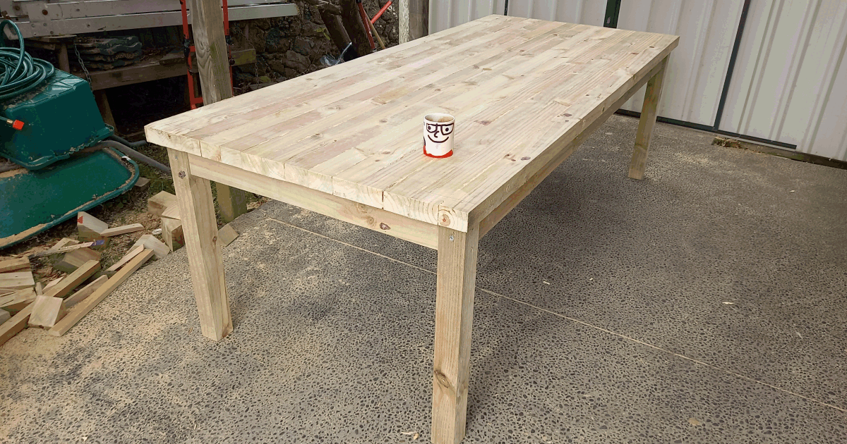 large solid outdoor dinning table with thin legs