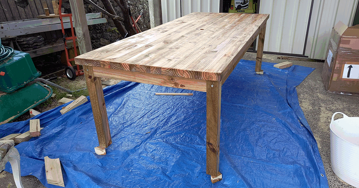 large solid outdoor dinning table oiled